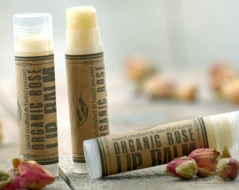 Organic Rose LIP BALM~Organic Lip Balm~Rose Lip butter~All Natural Rose Lip Balm~organic lip care~lip moisturizing