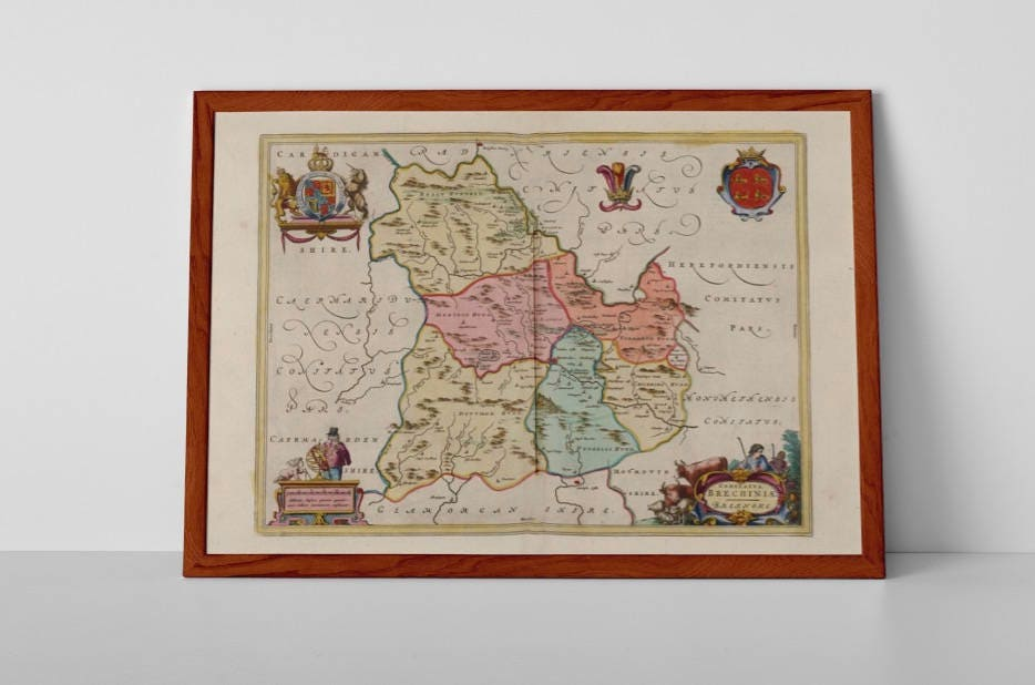 Brecknockshire Old Map Fine Art Giclée Reproduction Antique Map - Old map reproductions