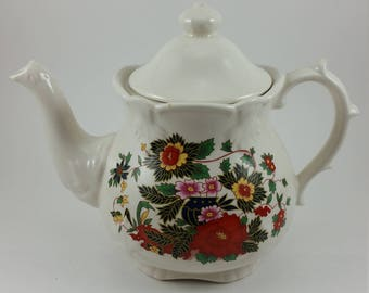 Vintage Price Kensington Teapot with Red and Yellow Flowers