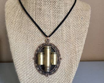 Bullet shell casing pendant with necklace