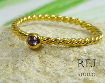 Natural Amethyst Twist Gold Plated Ring, February Birthstone 24K Yellow Gold  2mm Round Cut Purple Amethyst Ring Rope Gold Amethyst Ring