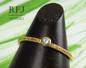 14K Gold Plated Natural Swiss Topaz Textured Ring, Rose Gold Plated 2 mm December Birthstone Round Cut Stackable Blue Topaz Rose Gold Ring