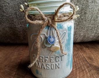 Distressed Mason Jar, Country Decor, Primitive, Vase