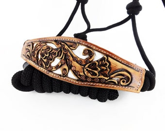 Classic White Hand Tooled Show Leather Nylon Rope Western Horse Trail Bronc Halter Nose band Made To Order