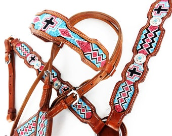 Hand Beaded Turquoise Cross Leather Show Headstall Western Horse Trail Barrel Racing Bridle Breast Collar Plate Tack Set