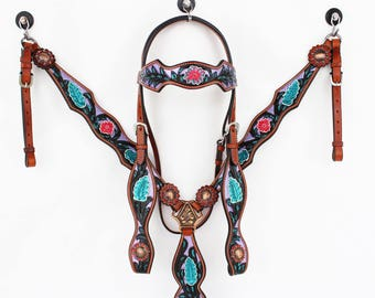 Purple Black Hand Painted Floral Bling Western Leather Cowboy Show Horse Bridle Headstall Breast Collar Tack Set