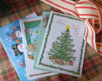 Vintage Christmas Cards ,  Set of 3 with  Matching Envelopes,