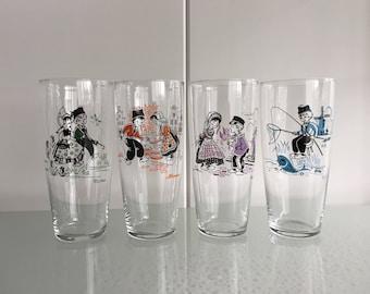 4 Longdrink fifties / sixties glasses retro vintage glazen typ. dutch glasses