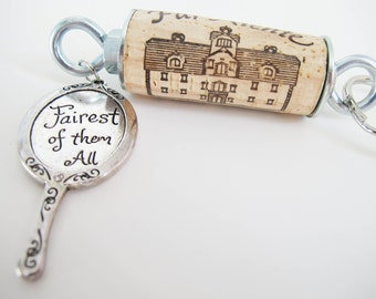 Mirror Themed Cork and Keychain | Wine cork keychain | Charm keychain | Wine lover's gift | Floating Keychain | Recycled cork keychain
