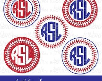 SALE! Baseball Monogram svg, dxf, jpg, png vector cut files, Baseball SVG, Baseball Laces, Circle Baseball Monogram, Baseball Laces Frame