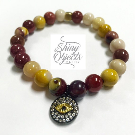 Mookaite and Pave Evil Eye Bracelet