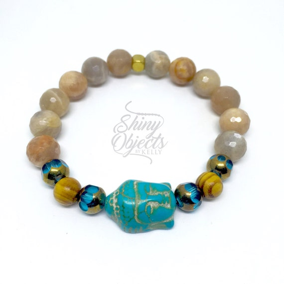 Peach Moonstone and Czech Glass Buddha Bracelet