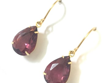 Burgundy earrings, crystal drops, gift for sister, for women,for her, gift for mother, gift for charity, Australian seller, Mother's Day