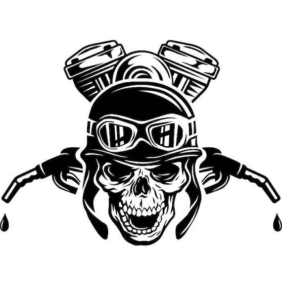 Motorcycle Logo #3 Skull Engine Gas Nozzle Bike Biker