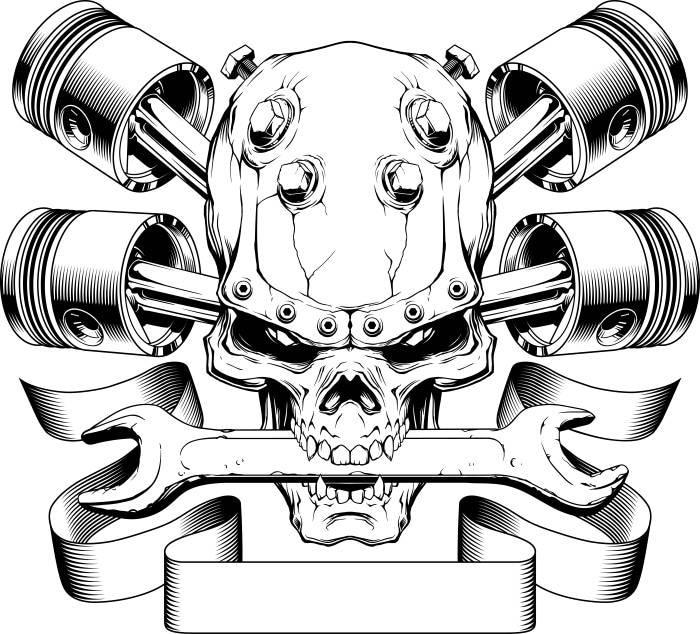 motorcycle logo 1 skull pistons crossed mechanic wrench bike. Black Bedroom Furniture Sets. Home Design Ideas