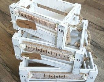 Wedding Crate Set - Shabby White - Customised Lettering | Wedding Crates | Confetti Holder | Card Crate | Bubbles Basket | Shabby Crates