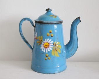Vintage French Blue Floral Enamel Coffee Pot - Shabby Chic