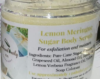 Lemon Meringue Sugar Scrub 8oz | Natural Body Scrub | Vegan Exfoliating | Hydrating Shower Scrub | Body Polish