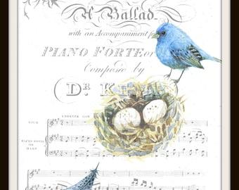Digital Download, Instant Download, Bird Wall Art, Graphic Print, Printable Art, Sheet Music, Bluebird, Nest, Feather, Watercolor, vintage