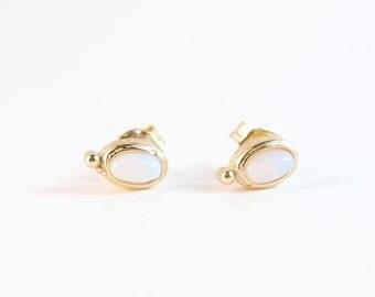 Moonstone Gold Earrings Studs | Moonstone Gold Earring Studs | Gold Earrings | Moonstone | Stud Earrings Gold | Bridesmaid Earrings