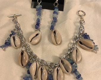 cowrie shell earrings and bracelet blue gems