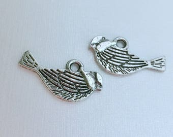 50-Silver Bird charms- 21mm