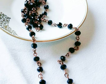"""Sale~Handcrafted approx 32"""" Long Copper and Black Glass Rondelle Crystal Necklace~No Clasp"""