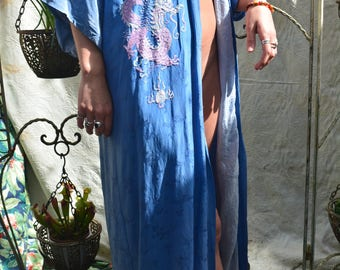 Blue Silk Embroidered Gown