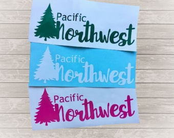 Pacific Northwest Vinyl Decal, PNW Pride, Hand drawn tree, Washington Idaho Oregon love, Car decal, Laptop tablet decal, Sticker