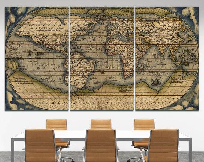 Large Vintage World Map 3 panel Wall Art, 3 piece wall art old world map, 3 piece wall canvas wall art vintage map, old map art 3 panel set