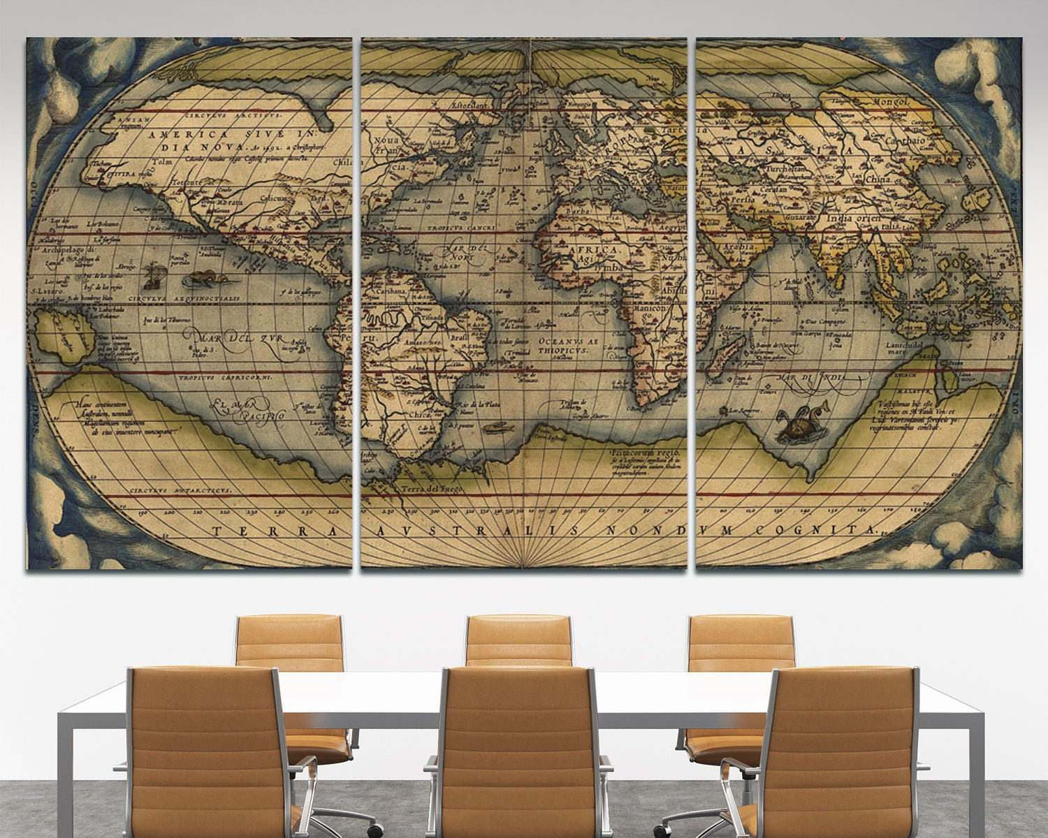 Large Vintage World Map 3 Panel Wall Art 3 Piece Wall Art Old