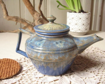 Blue glazed stoneware with Infuser teapot / French artisan pottery / ceramic teapot handmade / rustic, zen style