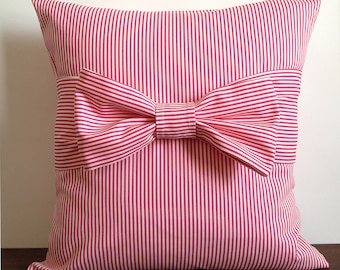 """Pink Pillow Cover with bow, 18"""" x 18"""". Hot Pink Pillow. Striped Bow Pillow. Decorative Pillow Cover"""