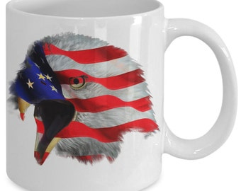 Patriotic Mug - Bald Eagle American Flag - Patriotic Gift