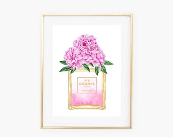Chanel No 5 Perfume Bottle Pink Peonies Faux Gold Art Print - Instant Digital Download