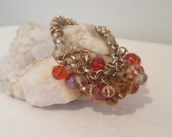 ON SALE, Glass Bead Bracelet, Silver Elastic Bracelet, Stretchy Bracelet, Colorful Beads, Fashion Jewelry, Elastic Bracelet, chain and link