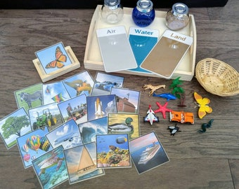 Land/Air/Water Activity Kit, Object Matching, Gift for Kids, Cultural/Geography/Science Montessori, Classroom Activity, Teacher Resources