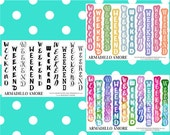 ECLP Horizontal Weekend Banners, Choose Your Style {10 Fancy Matte Repositionable Planner Stickers, ECLP Horizontal} | #17-233