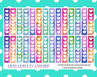 Watercolor Heart Checklists {28 Fancy Matte or Glossy Planner Stickers, Watercolor Theme} | #16-211