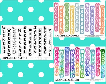 ECLP Horizontal Weekend Banners, Choose Your Style {10 Fancy Matte or Glossy Planner Stickers, ECLP Horizontal} | #17-233