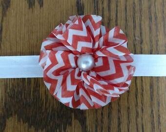 Red and White Chevron Bow on White Elastic Headband - Custom Size