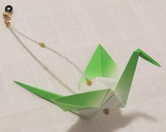 "Beaded Origami ""Crane Drop""//Paper Crane Ornament//Bird Ornament//Cubicle Decoration//Minimalist Mobile//Hostess Gift//Hanging Decoration"