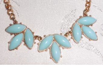 Vintage Turquoise Necklace on Gold Plated Chain