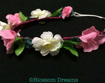 Pink white flower headband