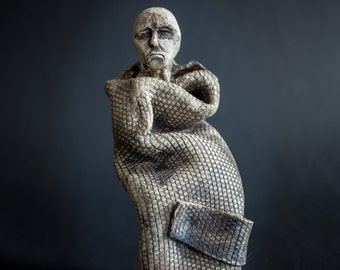 Madame . figures of human unique ceramic sculpture handmade clay homedecor