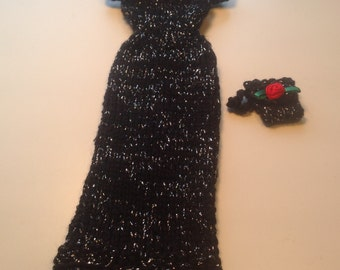 Long black with silver knit Barbie dress with matching wristlet