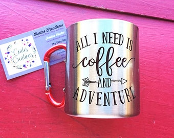 Carabiner mug//unqiue mug//stainless steel mug//coffee and adventure mug//camping mug//hiking mug//carabiner handle//mothers day gift