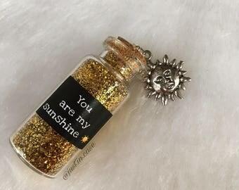 Glass bottle jewelry, Vial jewelry, Sunshine vial, vial charm, glass bottle charm, glass bottle necklace, vial necklace, Sunshine vial charm