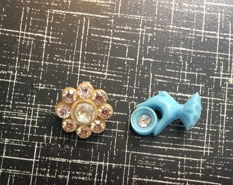 Vintage buttons  rhinestone 1940s 50s plastic celluloid