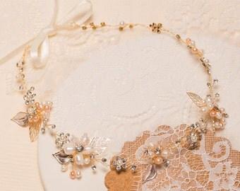 Vintage headband, Gold leaf headband, pearl headband, wedding head piece, Bridal headband, Bridal Leaf headpiece, hair jewelry,  FRE-016